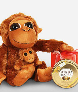 Monkey Mom-Chocolate,Gifts,Soft Toys