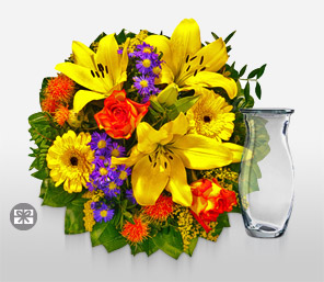 Spectacular-Green,Orange,Yellow,Lily,Rose,Arrangement,Bouquet