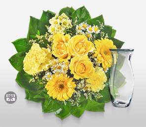 Yellow bells-Green,Yellow,Carnation,Gerbera,Rose,Bouquet
