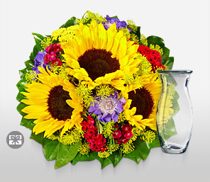Golden Goal-Blue,Mixed,Red,Yellow,Carnation,SunFlower,Arrangement,Bouquet