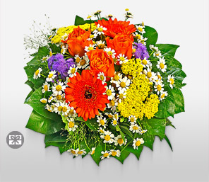 Modern Trance-Blue,Yellow,White,Orange,Mixed,Green,Chocolate,Gerbera,Rose,Bouquet