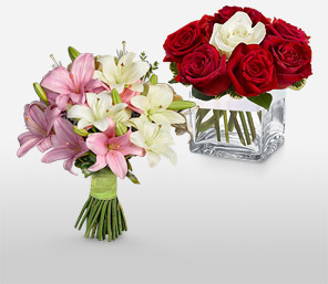 Delightfully Different-Pink,Red,Lily,Rose,Arrangement,Bouquet,Gifts