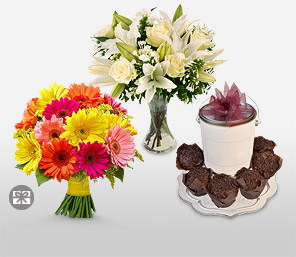 Love Trinity-Mixed,Orange,White,Yellow,Chocolate,Gerbera,Lily,Rose,Gifts