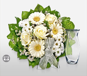 Perfectly Graceful-Green,White,Gerbera,Rose,Arrangement,Bouquet