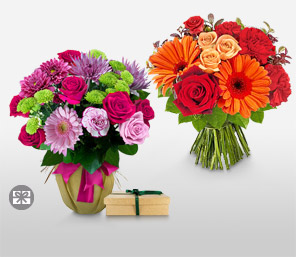 Two To Tango-Orange,Pink,Lavender,Purple,Mixed,Red,Chocolate,Rose,Daisy,Gerbera,Mixed Flower,Bouquet