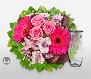 First Blush-Pink,Chrysanthemum,Gerbera,Rose,Arrangement