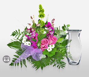 Rare Secret-Green,Pink,Orchid,Rose,Bouquet