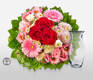 Sweet Sentiments-Green,Pink,Red,White,Carnation,Gerbera,Rose,Bouquet
