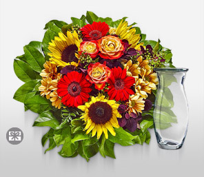 Sunny Smiles-Green,Mixed,Orange,Red,Yellow,Gerbera,Rose,SunFlower,Bouquet