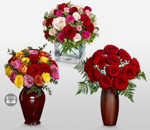 Love Triangle-Mixed,Red,Orange,Yellow,Peach,Pink,Rose,Bouquet