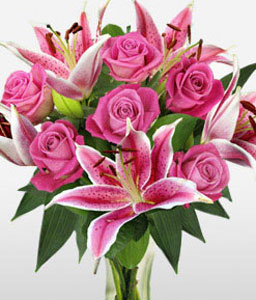 Rose And Lily Hand Tied-Pink,Lily,Rose,Bouquet