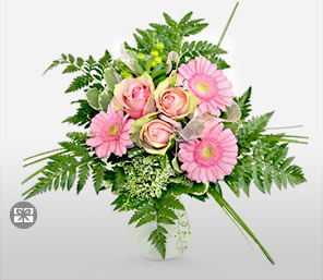 Raspberry-Green,Pink,Gerbera,Rose,Bouquet