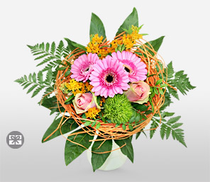Perky-Green,Pink,Gerbera,Rose,Bouquet