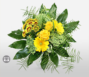 Yellow bells-Green,Yellow,Gerbera,Rose,Bouquet