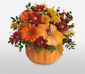 Pumpkin Patch-Orange,Red,Yellow,Chrysanthemum,Daisy,Gerbera,Arrangement,Basket,Bouquet