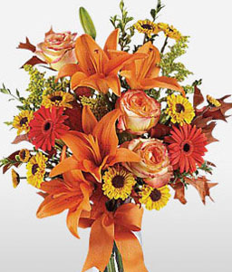 Autumn Burst-Green,Orange,Yellow,Chrysanthemum,Gerbera,Lily,Bouquet