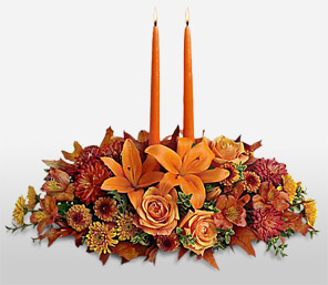 Seasons Greeting-Orange,Yellow,Green,Rose,SunFlower,Carnation,Candle,Lily,Centerpiece,Arrangement
