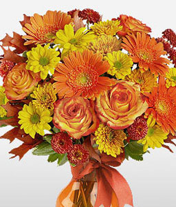 Sprightly Splendor-Orange,Red,Yellow,Rose,Mixed Flower,Gerbera,Daisy,Chrysanthemum,Arrangement,Bouquet