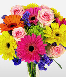 Spectacular Surprise-Blue,Mixed,Orange,Pink,Yellow,Chrysanthemum,Gerbera,Rose,Bouquet