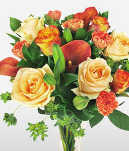 Stylish Allure-Green,Orange,Peach,Carnation,Lily,Rose,Bouquet