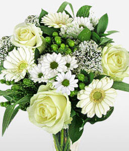 Gracefully Yours-Green,White,Chrysanthemum,Gerbera,Rose,Bouquet