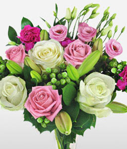 Elegance Personified-Green,Pink,White,Carnation,Rose,Bouquet