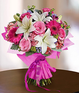 Mixed Flowers In Pink-Pink,White,Alstroemeria,Carnation,Gerbera,Lily,Rose,Bouquet