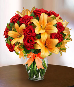 Sun Kissed-Orange,Red,Lily,Rose,Arrangement