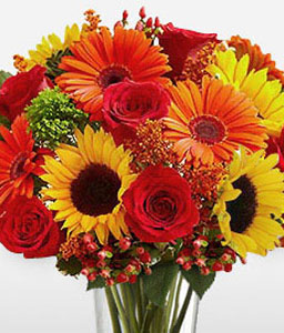 Blooming Blossoms-Mixed,Orange,Red,Yellow,Gerbera,Rose,SunFlower,Bouquet