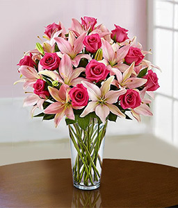 Swirling Beauty - Pink Lilies & Roses-Pink,Lily,Rose,Bouquet