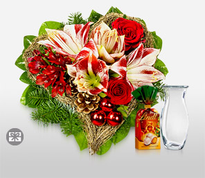 Christmas Gala-Green,Pink,Red,Alstroemeria,Pine,Chocolate,Rose,Bouquet