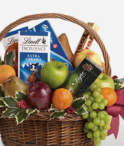 Holiday Basket-Chocolate,Fruit,Basket,Hamper,Sweets,Gifts