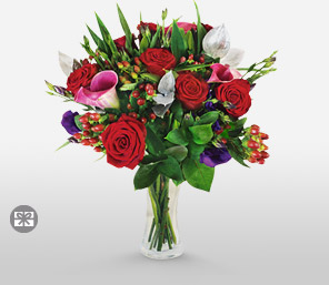 Blitzen-Blue,Green,Red,Rose,Bouquet