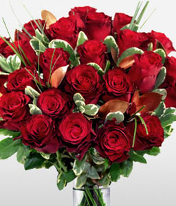 24 Valentine Roses-Green,Red,Rose,Bouquet
