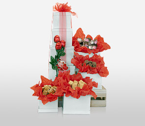 Tower Of Romance-Red,Chocolate,Basket,Hamper,Gifts