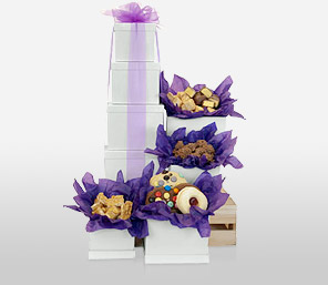 Tower Of Sweet Joys-Purple,Chocolate,Hamper,Sweets,Gifts