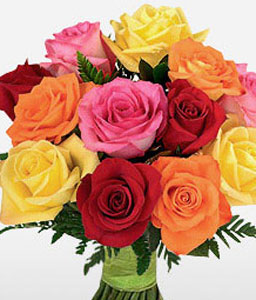 1 Dozen Mixed Roses Bouquet-Mixed,White,Orange,Yellow,Pink,Red,Rose,Bouquet