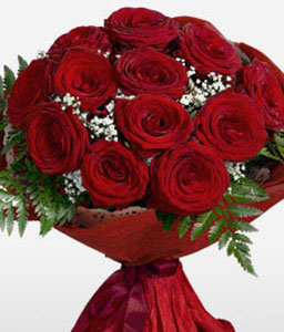 1 Dozen Red Roses Bouquet-Red,Rose,Bouquet