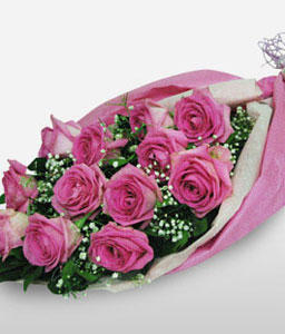 Glory - One Dozen Pink Roses-Pink,Rose,Bouquet