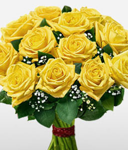 1 Dozen Yellow Roses Bouquet-Yellow,Rose,Bouquet