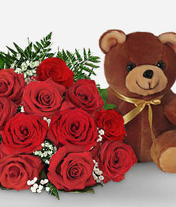 1 Dozen Red Roses Bouquet + Teddy-Red,Rose,Teddy Bear,Bouquet,Gifts