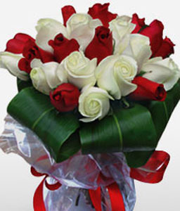 18 Red And White Roses Bouquet-Red,White,Rose,Bouquet