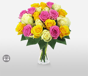 Gracefully Yours-Mixed,Pink,White,Yellow,Rose,Bouquet