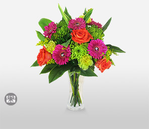 Vivacious in Vogue-Green,Orange,Pink,Red,Carnation,Gerbera,Bouquet