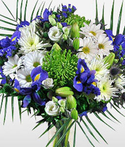 Striking Splendor-Blue,Green,White,Lily,Daisy,Bouquet