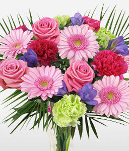 Glorious-Green,Pink,Rose,Carnation,Gerbera,Bouquet