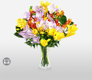 Freesia Bouquet-Blue,Green,Violet,Yellow,Freesia,Arrangement,Bouquet