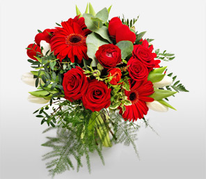 Simply Glorious-Green,Red,Gerbera,Rose,Tulip,Arrangement,Bouquet