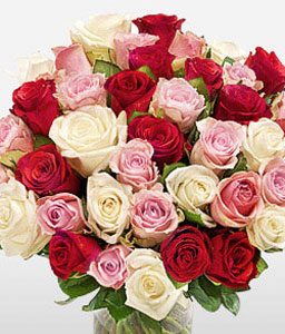 Rosy Hues-Mixed,Pink,Red,Rose,Arrangement,Bouquet