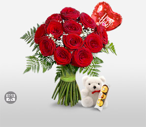 Love Is In The Air-Red,Balloons,Chocolate,Rose,Teddy Bear,Bouquet
